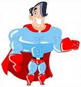 stock photo of muscle man  - Vector illustration of a charming superhero wearing a cape - JPG