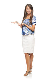 picture of flirty  - Full length of beautiful elegant woman showing holding on the palm blank copy space over white background - JPG