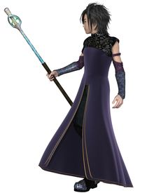 pic of sorcerer  - Fantasy illustration of a young male elven sorcerer wearing purple velvet robes and carrying a magic staff - JPG