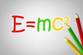 stock photo of einstein  - Albert Einsteins Physical Formula Concept text on background - JPG