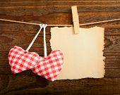 image of valentines  - Valentines Vintage Handmade Hearts over Wooden Background - JPG
