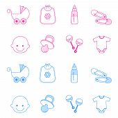 pic of pacifier  - Cute baby girl and boy icon collection including baby face bib carriage safety pins pacifier feeding bottle isolated on white background - JPG
