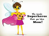picture of bee cartoon  - Funny Cartoon super mom bee on white background - JPG