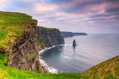 picture of cliffs  - Cliffs of Moher at sunset - JPG