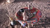stock photo of shisha  - Components of Shisha and Hookah set on the beach of Taba in the Sinai Peninsula - JPG