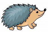 pic of animated cartoon  - Hedgehog isolated on white - JPG