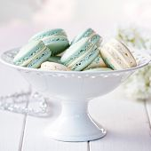 picture of cake stand  - Cake stand filled with macarons - JPG