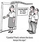 image of gag  - Cartoon of businesswoman about to open door and coworker says - JPG