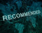 picture of recommendation  - Recommended text concept on green digital world map background - JPG
