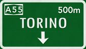 picture of torino  - Torino Italy Highway Road Sign Photo Realistic Illustration - JPG