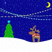 image of christmas bells  - Christmas card with moonlight snowy evening holiday lights cute beige reindeer wearing red nose Christmas bells and harness fir - JPG