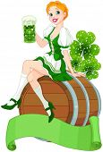 pic of keg  - Irish girl sits on the keg and holds mug  - JPG