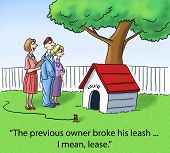 foto of dog-house  - The real estate agent is showing the couple a prospective house - JPG