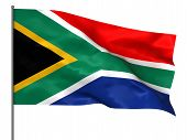 pic of south-pole  - Waving South Africa flag isolated over black background - JPG