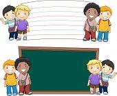 stock photo of beside  - Illustration of Boys Standing Beside Blank Boards - JPG