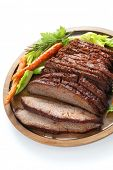 stock photo of brisket  - barbecue beef brisket isolated on white background - JPG