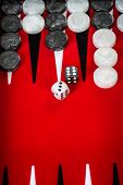stock photo of dice  - Backgammon Red Board with Dice - JPG
