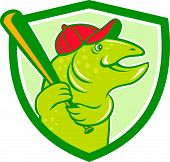 picture of baseball bat  - Illustration of a trout fish baseball player with hat holding baseball bat batting looking to the side set inside shield crest on isolated background done in cartoon style - JPG