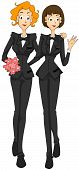pic of gay wedding  - An Illustration Of A Lesbian Marriage with Clipping Path - JPG