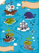 stock photo of treasure map  - An Illustration Of A Detailed Treasure Map with Clipping Path - JPG