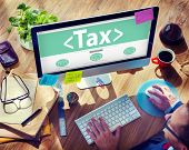 stock photo of policy  - Digital Online Tax Payment Policy Office Concept - JPG