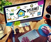 stock photo of policy  - Businessman Insurance Policy Internet Searching Concept - JPG