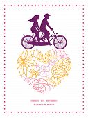 picture of tandem bicycle  - Vector flowers outlined couple on tandem bicycle heart silhouette frame pattern greeting card template graphic design - JPG