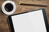 pic of pencils  - Tablet pc or ipad on table desk with coffee cup and pencil - JPG