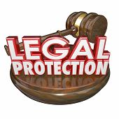 picture of justice law  - Legal Protection 3d words with wooden gavel to illustrate law trial represented by a lawyer or attorney - JPG