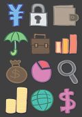 picture of japanese coin  - Vector icons of Japanese yen symbol security lock wallet umbrella briefcase bar chart money bag pie chart magnifying glass coin stack globe and dollar sign isolated on black - JPG
