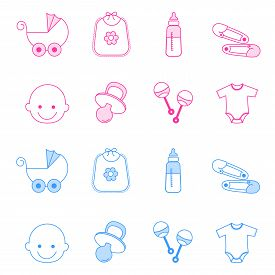image of pacifier  - Cute baby girl and boy icon collection including baby face bib carriage safety pins pacifier feeding bottle isolated on white background - JPG