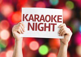 image of karaoke  - Karaoke Night card with colorful background with defocused lights - JPG
