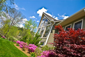 stock photo of fescue  - Azalea bushes blooming in the landscaping green fescue grass and plants on the front of the house - JPG