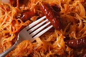 image of stew  - stewed cabbage with sausage macro - JPG