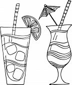 pic of pina-colada  - Set of 2 hand drawn vector illustrations of cocktails - JPG