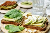 picture of avocado  - grilled rye sandwiches with cheese spinach pesto avocado and goat cheese - JPG