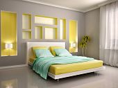 stock photo of master bedroom  - 3D Illustration Of Modern Bedroom Interior With Yellow Bed And Niches - JPG