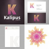 stock photo of letter k  - Design icon letter K element with Business card and paper template - JPG