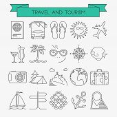 pic of anchor  - Travel line icons set - JPG