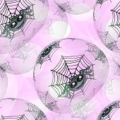 image of cobweb  - Seamless background or texture with spiders and cobweb on pink - JPG