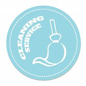 stock photo of broom  - Cleaning Service logo  victor illustration with broom - JPG
