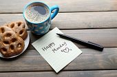 pic of monday  - Cup of coffee with fresh cookies and Happy Monday massage on wooden background - JPG