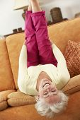 picture of upside  - Senior Woman Lying Upside Down On Sofa At Home - JPG