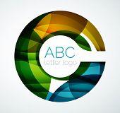 picture of color geometric shape  - alphabet letter logo - JPG