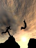 foto of gap  - Concept or conceptual young 3D man or businessman silhouette jump happy from cliff over  gap sunset or sunrise sky background - JPG