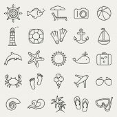 image of rudder  - Set of holidays sea and beach line icons - JPG
