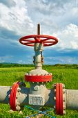 foto of gas-pipes  - Gas pipe with a tap valve in the summer - JPG