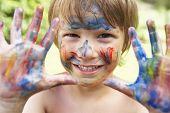 pic of face painting  - Head And Shoulders Portrait Of Boy With Painted Face and Hands - JPG