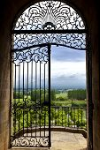 pic of bordeaux  - Wrought iron gate facing countryside near Bordeaux France - JPG