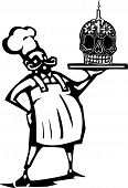 image of day dead skull  - Woodcut style image of a french chef with a Mexican day of the dead candy skull and candle - JPG